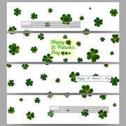 Set of modern banners. St Patricks day vector background, green clovers on white Stock Illustration