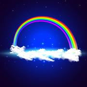 Rainbow over the clouds - stock illustration