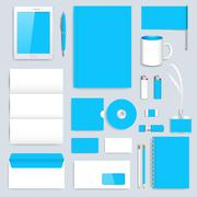 Stock Illustration of Blue Set of vector corporate identity template. Modern business stationery mock