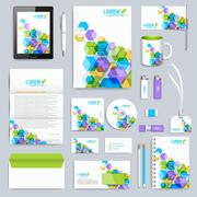Set of vector corporate identity template. Modern business stationery mock-up - stock illustration