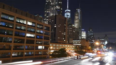 Illuminated One World Trade Center Night New York City Skyscrapers Footage Road Stock Footage