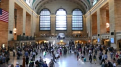 New York Grand Central Station Interior Crowd Footage Window Tourists Stock Footage