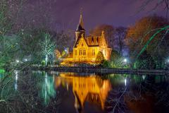 Bruges. Park Minnewater. - stock photo