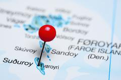 Tvoroyri pinned on a map of Faroe Islands - stock photo