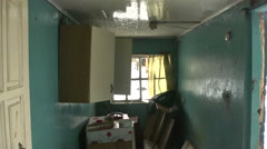 Abandoned house. Rain in the room Stock Footage