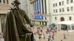 Sculpture New York Stock Exchange Wall Street American Culture People Footage Stock Footage