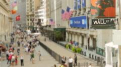 Wall Street New York Stock Exchange American Flag Crowd Footage USA Manhattan - stock footage