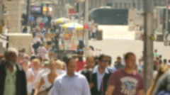 Crowd Walking New York City Street Times Square Blurred Motion Manhattan People - stock footage