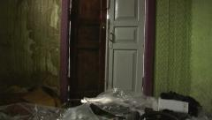 Door Opens into Abandoned Rustic House. Stock Footage