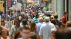 Times Square Crowd Walking New York City Street Blurred Motion Manhattan USA - stock footage