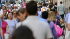 People New York City Street Crowd Walking Times Square Blurred Motion People USA - stock footage
