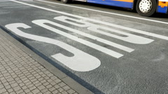 Bus lane, public transportation Stock Footage