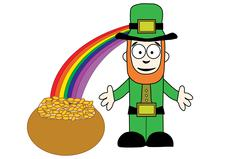 Stock Illustration of Leprechaun with pot of gold at end of rainbow
