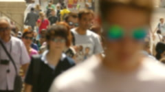 New York City Crowd Walking Street Times Square Manhattan Blurred Motion Tourism - stock footage