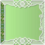 Vector lace frame, festive pattern, white pattern,  template greetings - stock illustration