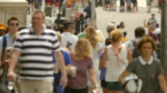 Pedestrians Walking New York City Street Crowd Times Square Blurred Motion - stock footage