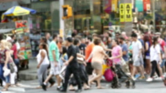 New York City Crowd Walking Street Times Square Blurred Motion Manhattan - stock footage