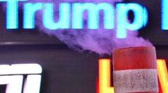 New York City Smokestack Sign Illuminated Night Manhattan Light USA Tourism 4K - stock footage
