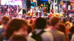 New York City People Night Street Crowd Manhattan USA Tourism Pedestrians Famous Stock Footage