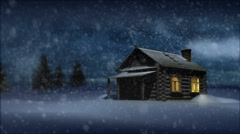 Log house in winter, at night, in snow storm Stock Footage