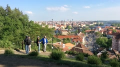 Tourists are Observing Prague from the Hill Stock Footage