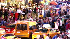 Times Square New York City Street Crowd Manhattan USA People Tourism Taxi Stock Footage