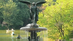 Angel Statue Fountain Central Park Footage New York Lake Trees Famous Water Stock Footage