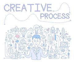 Creative Process, Handdrawn Vector Illustration - stock illustration