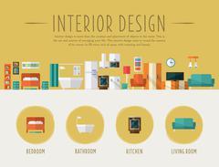 Stock Illustration of Interior Design. Flat Vector Illustration