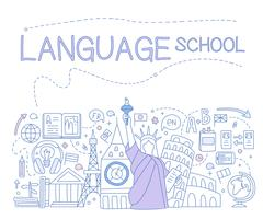 Language School Infographics. Vector Illustration - stock illustration