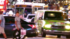 People Crossing City Street New York Traffic Crowded Taxi Manhattan USA Footage Stock Footage