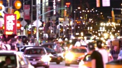 City Street New York Times Square Traffic Manhattan Crowded USA Footage People Stock Footage
