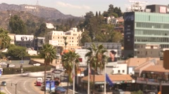 Los Angeles City Buildings Street Transportation USA Trees Tourism Footage Stock Footage