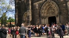 People are Standing in Front of the Basilica of St Peter and St Paul in Vysehrad Stock Footage