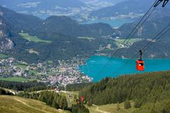 Cableway near Wolfgangsee - stock photo