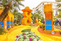 Art made of lemons and oranges in the famous carnival of Menton, France. Fete Stock Photos
