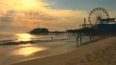 Crowd Santa Monica Pier Travel Tourism Footage People Beach California Timelapse - stock footage