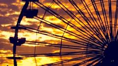 Silhouette Ferris Wheel Footage Santa Monica Pier Sunset Nature California Stock Footage