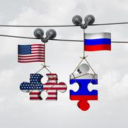 American And Russian Cooperation Stock Illustration