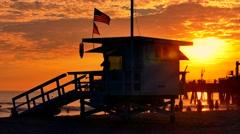 Silhouette Ferris Wheel Santa Monica Pier Beach Sunset Lifeguard Hut Nature Stock Footage