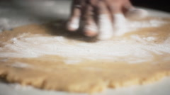 Close up Shot Men Kneading Dough With Rolling Pin on Table - stock footage
