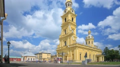 Peter and Paul Cathedral in Saint-Petersburg Stock Footage