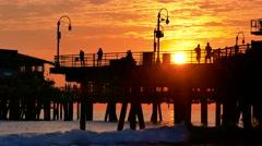 Silhouette Santa Monica Pier Sea Travel Sunset Nature Beach California Los Stock Footage