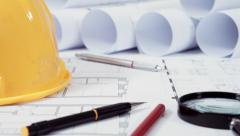 Architectural tools and drawings Stock Footage