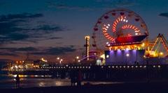 Illuminated Santa Monica Pier Night Ferris Wheel Beach Nature California Los Stock Footage