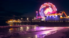 Santa Monica Pier Illuminated Night Ferris Wheel Beach Nature California Stock Footage