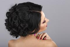 Rear view of a beautiful coiffure - stock photo