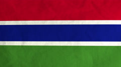 Gambian flag waving in the wind (full frame footage) Stock Footage