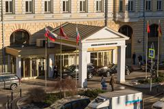Moscow, Russia - February 18.2015.  main entrance to Hotel Baltschug Kempinsk Stock Photos