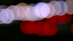 City Lights Lens Flare Highway Traffic Night Urban Abstract Footage Illuminated - stock footage